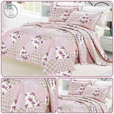 Bedspread 3 Piece Printed patchwork Bedspread  Embroidery Pink/Peach in 4 Sizes