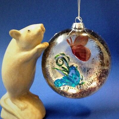 Hanging Glass Christmas Decoration Ornament - Impressed Butterfly & Flower 9cm