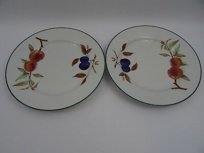 2 Royal Worcester Evesham Vale Dinner Plates 26.5 cms 10.5""