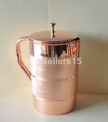 Pure Copper Handmade Jug Water Pitcher 2 Liter Energized Storage Ayurveda Yoga