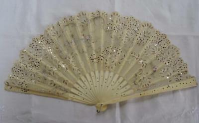 Antique Victorian Carved Bovine Bone & Spangled Gauze, Painted & Lace Fan c1890