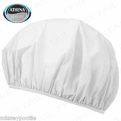 8 x Shower Caps Elasticated Plastic White Waterproof Hair Wrap Bath by Athena