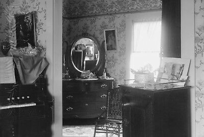 Antique glass plate photo negative 5 x 7 Victorian Home Interior Dressing Room