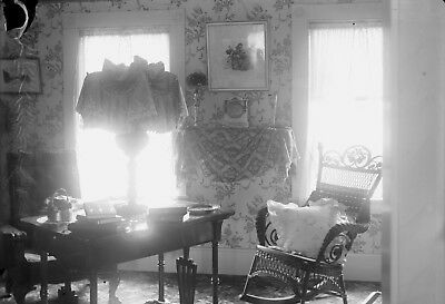 Antique glass plate photo negative 5 x 7 Victorian Home Interior Library view 2