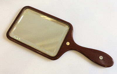 Vintage Wooden Hand Mirror, Wood & Mother-of-Pearl Inlay