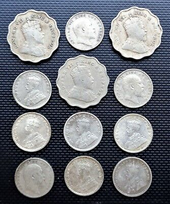 Antique 12x Ceylon One & Two ANNA Silver Coins