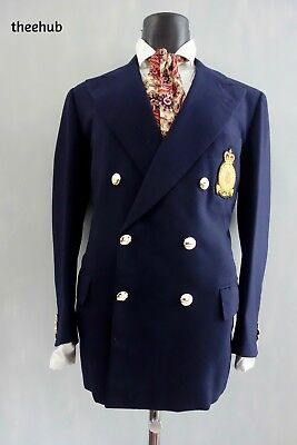 Bespoke Savile Row Vtg 70s RAF Squadron Crown Eagle Button D/B Peak Lapel Blazer