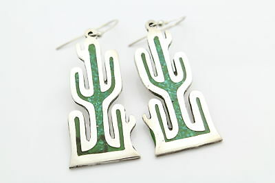 Big Cactus Dangle Earrings in High-Quality Inlaid Turquoise Enamel and Silver