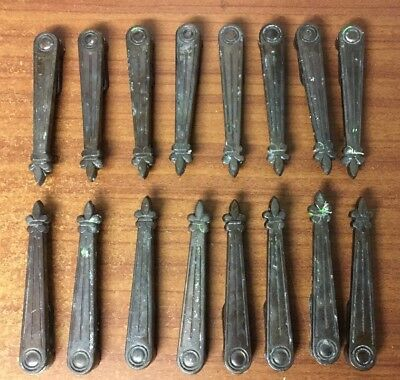 Vintage Art Deco Bronze/Coppered Iron Stair Clips / Carpet Runner Grips x 16