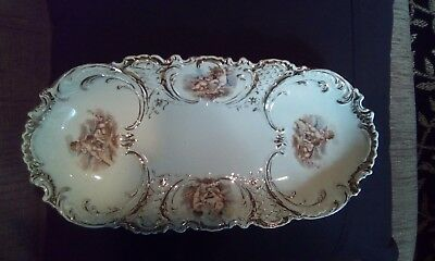 Vintage Porcelain Oval Decorative Tray With Cherub Motif And Gold Accents