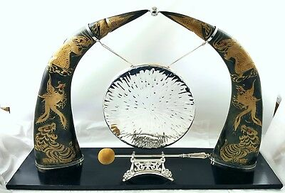 Double Carved Horn of Dragons and Tigers Silver Plated Gong