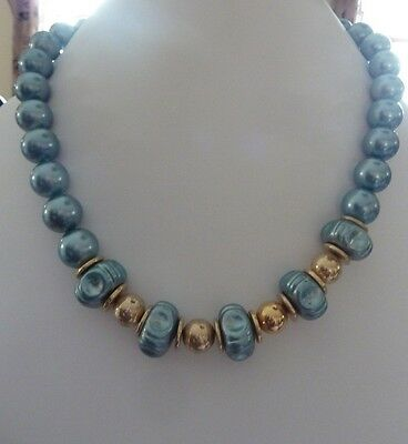 Vintage Chunky Blue Beaded Necklace