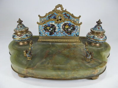 Antique French bronze champleve & onyx inkwell # D8368