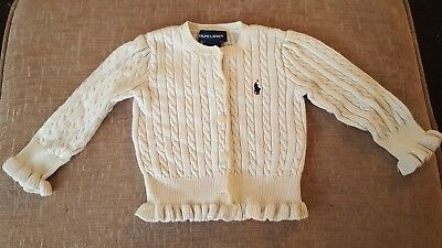Cute Ralph Lauren Girls Cream Cardigan - Age 12 Months