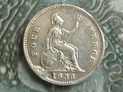 fourpence 1836 groat coin a bit edgy but high grade