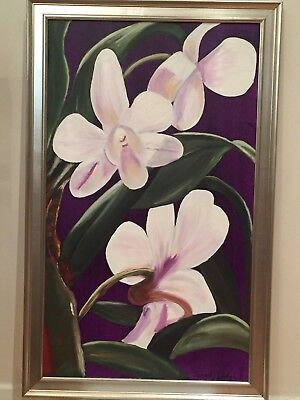 Original Hand Paint Canvas Oil Painting Home Decor Wall Art Flowers 24x30 Orchid