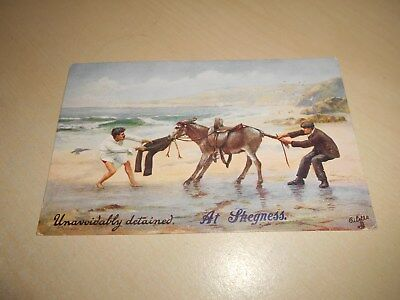 Early 1916 Tuck Oilette Greetings Pc - Unavoidably Detained At Skegness - Donkey
