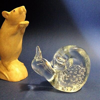Clear Art Glass Paperweight  - SNAIL - Controlled Bubbles, 6cm Tall