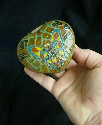 Vintage Heart Shaped Brass Trinket Box with Butterfly Design hinged Lid -- India