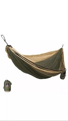 Grand Trunk Double Parachute Nylon Hammock Camping Travel Olive/Khaki New!!
