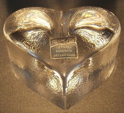 Dartington Crystal Glass Heart Shaped Pen Holder Paperweight