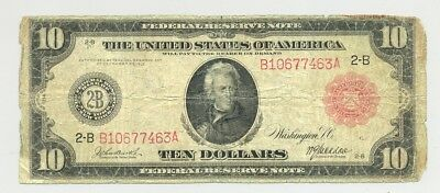 $10 Series 1914 Federal Reserve Note red seal bright color and no problems
