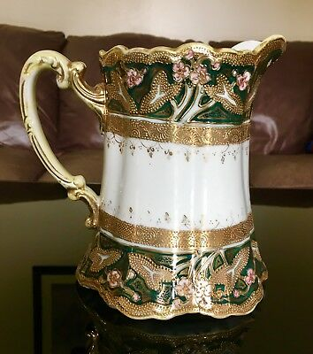 Antique Nippon Hand Painted Green Moriage Pitcher w Heavy Gold Maple Leaf Mark