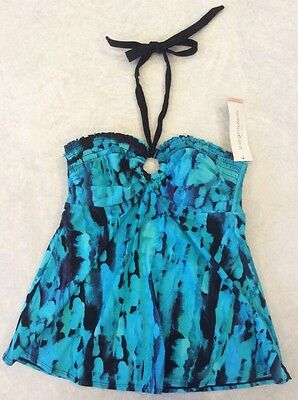 Liz Lange Maternity Small Tankini Swimsuit Top Smocked Halter Turquoise NWT