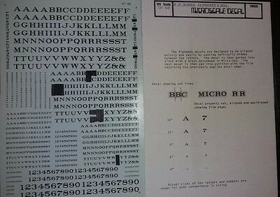1:87 Microscale Decals  #87-69-2 RR Roman Letters & Numbers-Black.