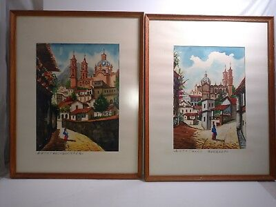 Original 1960's Watercolor Painting Signed City scenes Taxco Mexico