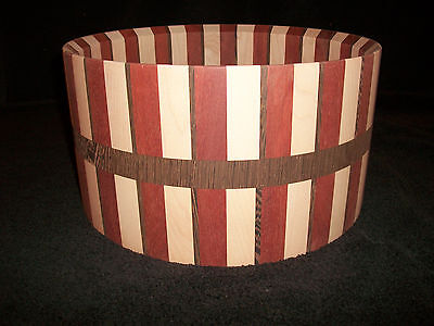 7  x 13    Maple/Blood Wood/Wenge Solid Stave Snare Drum Shell