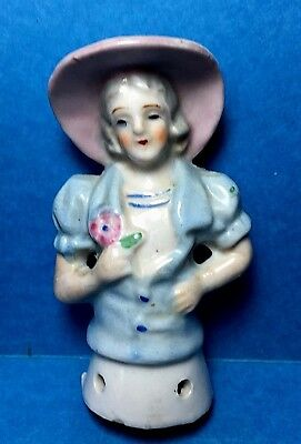 Vintage Porcelain Pin Cushion Half Doll  #21  Marked H.K. Japan