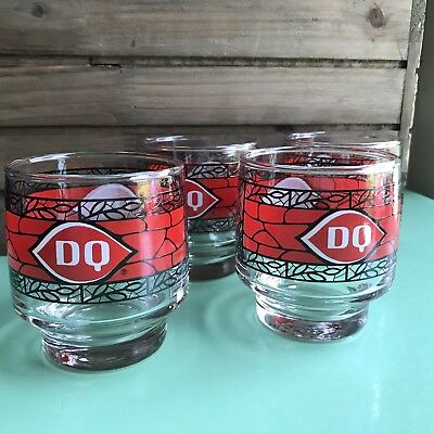 Small Vintage Dairy Queen Parfait Glasses Red Black Ice Cream Social Advertising