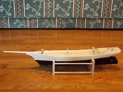 Large Vintage Wooden Three Masted Model Sailboat