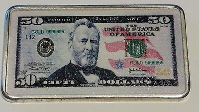 Commemorative Silver Plated American President Ulysses S Grant 50 Dollar Bill