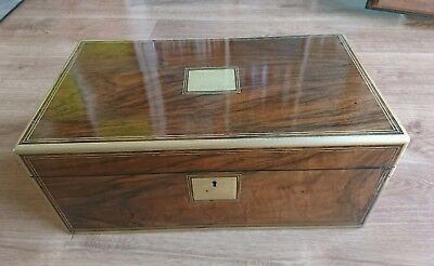 Antique writing slope walnut box brass regency secret drawers