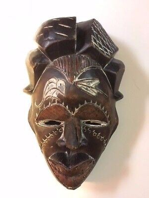 Vintage Round Hand Crafted Wood Wall Decor Face Tribal African Carved Antique