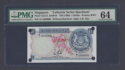 Singapore One Dollar ND(1989) P1acs1 Specimen Uncirculated
