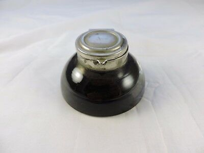 Dome Style Ink Well With Nickle Plate Cap, Purple Ink