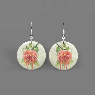 Fashion Earrings Color Printing Peony Flower White Shell Round Drop J1705 0308