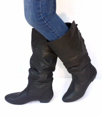 Women S Fashion Flat Low Heel Mid Calf Knee High Slouch Riding Boots