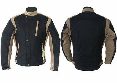 Warrior Waxed Cotton Motorcycle Armour Black  Beigh Quilted Wp Cotton Wax Jacket
