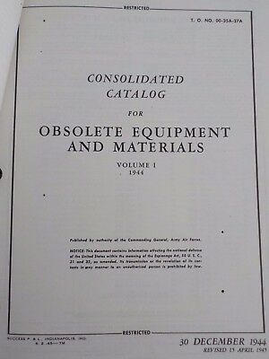 Technical Orders Consolidated Catalog Obsolete Equipment Materials Aircraft