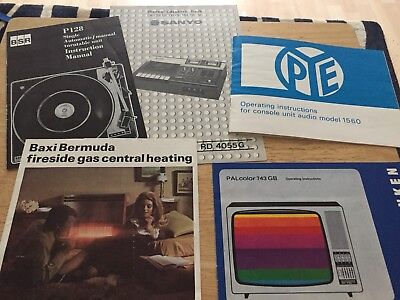 Joblot Of Old Instruction Manuals. BSR. SANYO. PYE And More. Turntable. Cassette