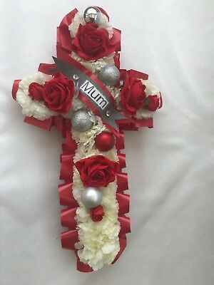 ARTIFICIAL FUNERAL flowers cross wreath grave pink blue red