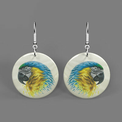 Natural Shell Printed Parrot Bird Earrings Fashion Round Drop J1705 0295