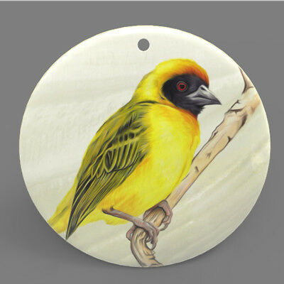 Mother of Pearl Shell Bird Color Printing Pendant Necklace J1705 0506