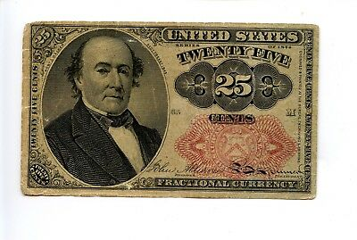 Fifth 5th Issue 25C 25 Cent Fractional Currency Note Edge Tear Holes 1874 AA0953