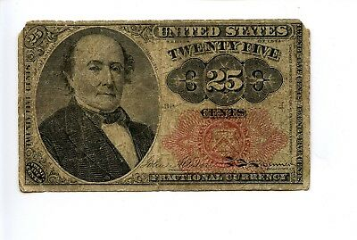 Fifth 5th Issue 25C 25 Cent Fractional Currency Note Holes Tears 1874 AA0952