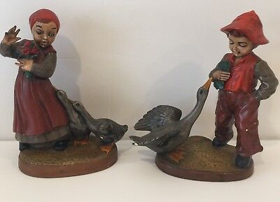 Vintage Holland Mold Boy And Girl With Geese Collectible Gift